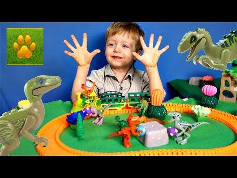 ДИНОЗАВРЫ Велоцираптор Спинозавр Трицератопс Поезд Динозавров  Видео про Динозавров для Детей