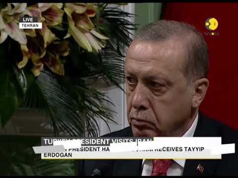 Iranian president Hassan Rouhani receives Tayyip Erdogan