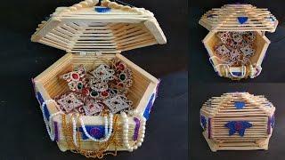 How to make jewelry box    popsicle stick crafts   Diy   Ice cream stick craft