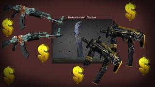 CS:GO - Falchion Knife | Fade & Blue Steel, AK-47, MP7 Unboxing [HD]