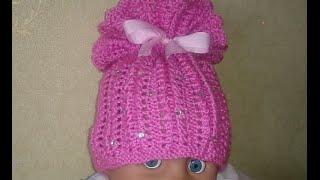 Вязаная детская шапочка!Baby Beanie!knitting.Вязание для начинающих.
