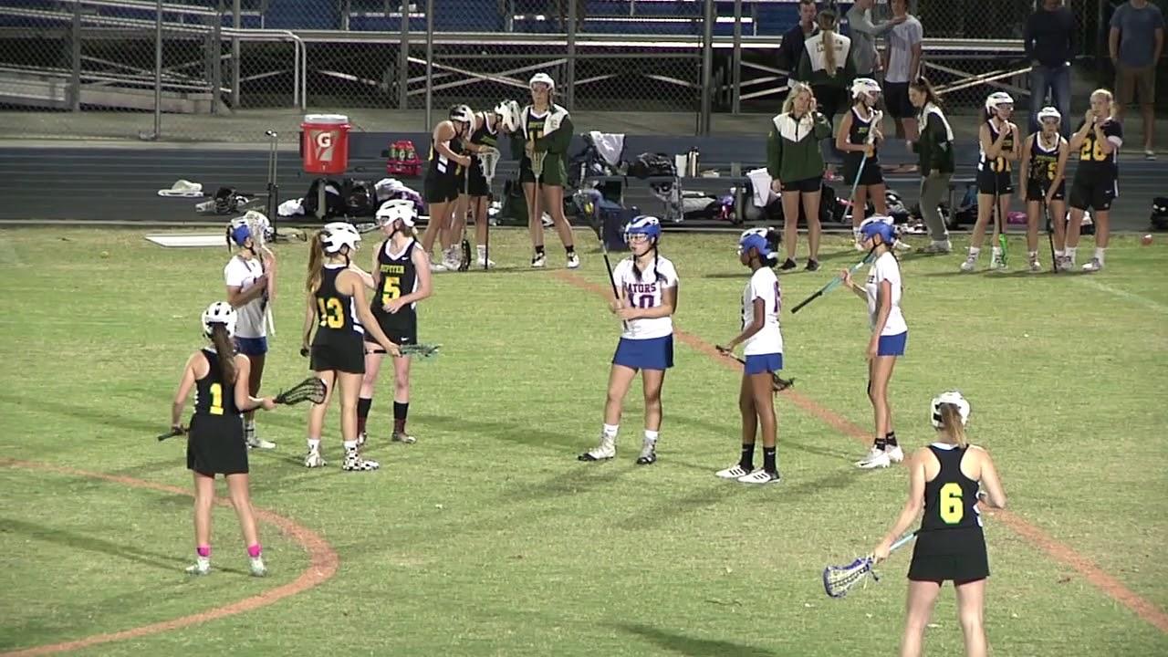 Jupiter vs Palm Beach Gardens Girls Lacrosse 3 6 18 2nd HALF - YouTube