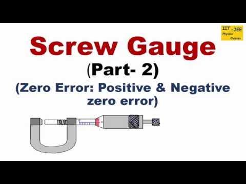 Screw Gauge (Part-2) : Zero Error (Positive and Negative) using Animation, IIT-JEE physics classes