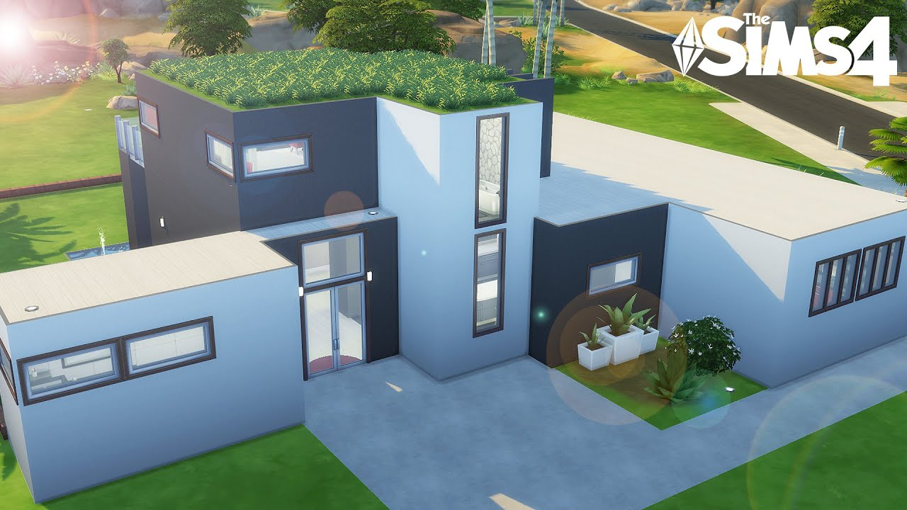 Maison moderne construction sims 4 youtube for Modele maison sims