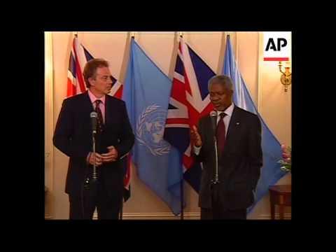 British PM meets Kofi Annan