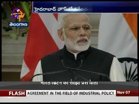 PM Modi and Britain PM Teresa May Holds Joint Press Meet at Hyderabad Bhawan