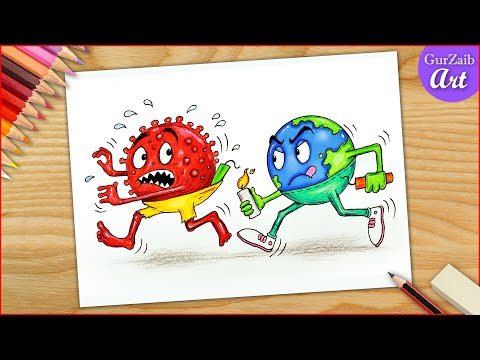 Happy Diwali to corona Virus Drawing || Fight Covid 19 Earth || poster making  (easy)