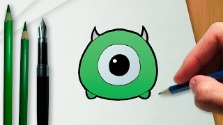 How to draw Mike Wazowski Disney Tsum Tsum version