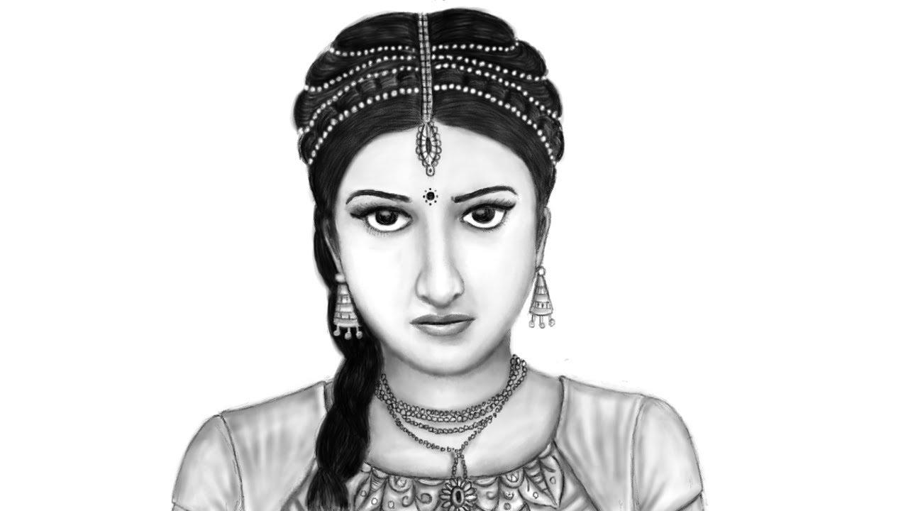 Pencil sketch beautiful girl in traditional dress how to draw female drawing in mypaint