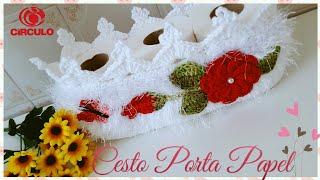 Cesto de Crochê porta papel – Jogo de Banheiro Luxo