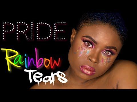 PRIDE RAINBOW MAKEUP LOOK | RAINBOW GLITTER TEARS