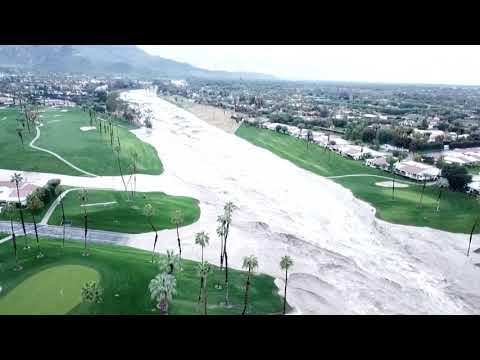 Drone video of flash flood over Rancho Mirage, Feb 14, 2019