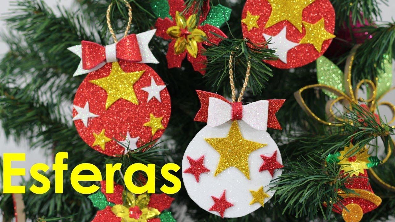Como hacer esferas navideñas de foami - Manualidades de Lina - YouTube