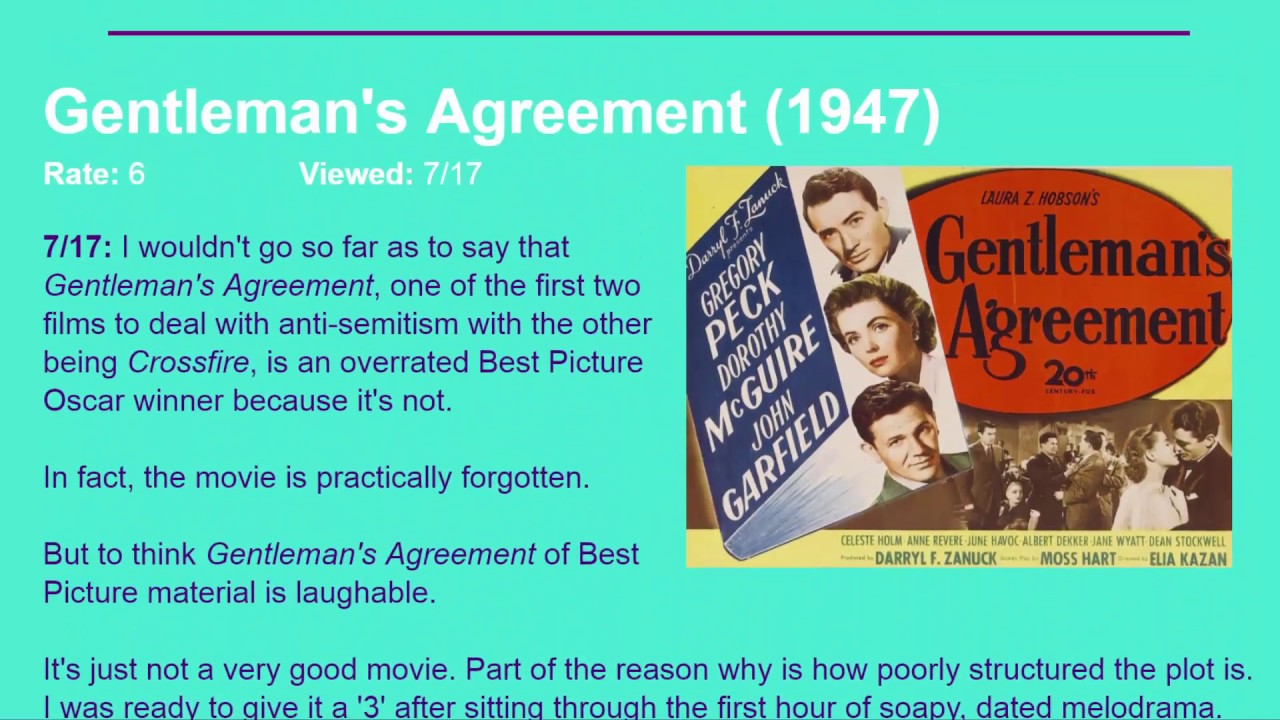 Movie Review Gentlemans Agreement 1947 Hd Youtube