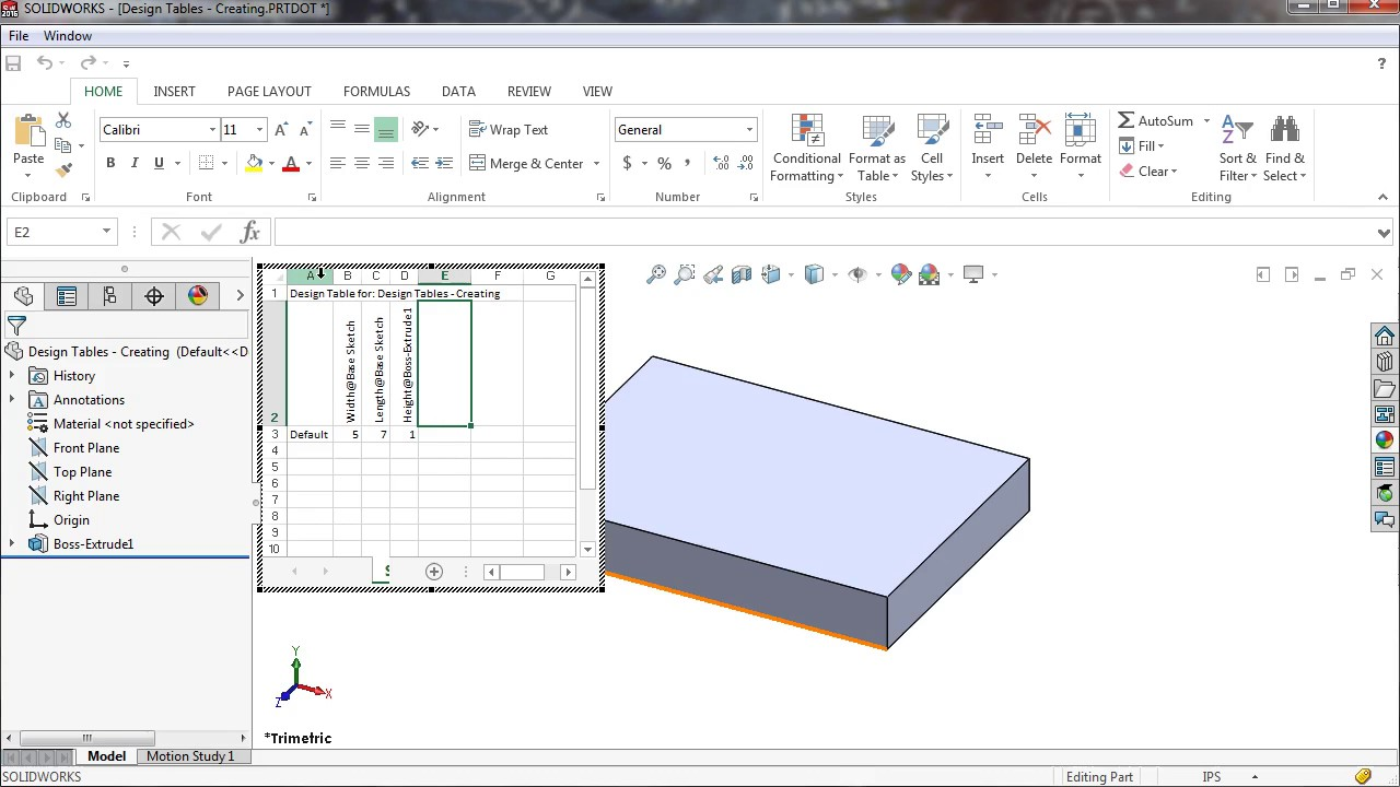 Solidworks design table for Design table not working solidworks
