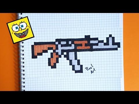 Como Dibujar Un Ak 47 Paso A Paso En Pixel Art Youtube