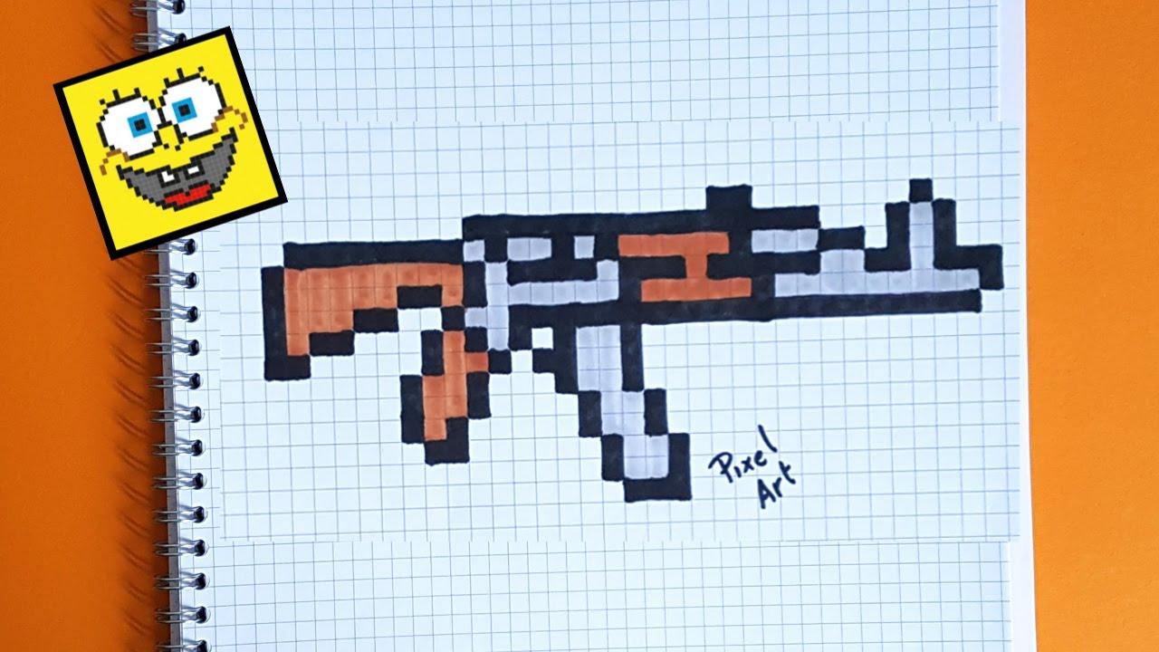 Cómo Dibujar Un AK-47 Paso A Paso En Pixel Art