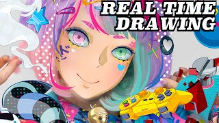 Hypersonic Music Club Adobe Illustrator REAL TIME DRAWING TUTORIAL|Japanese Anime Style How to Draw