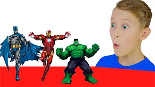 Alex play with Superheroes and Dance - Preschool toddler learn color