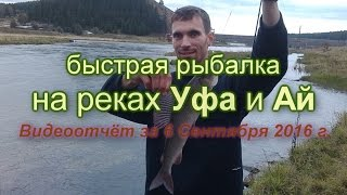быстрая рыбалка на реках Уфа и Ай. видеоотчёт за 06/09/2016