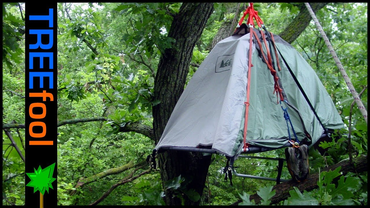 & Tree Camping on a Suspended Tent - YouTube