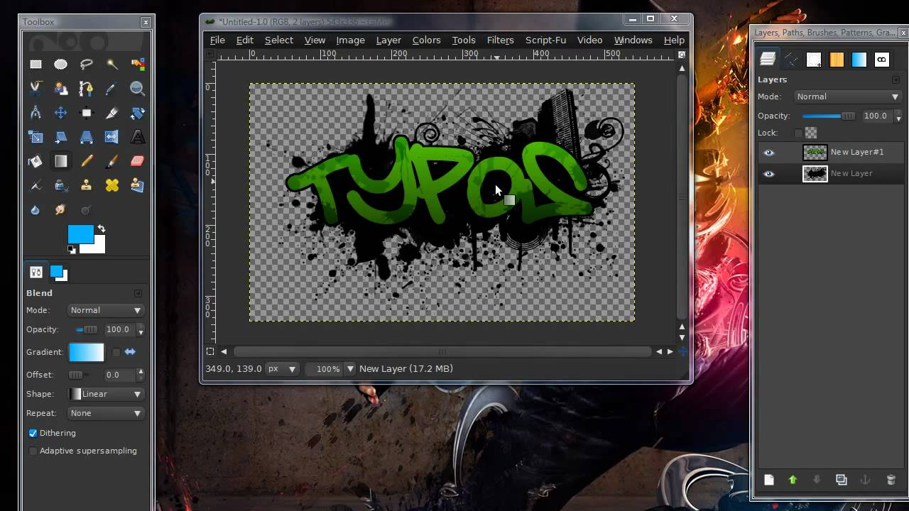 How to make a splatter graffiti effect in gimp hd youtube