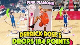 FREE PINK DIAMOND DERRICK ROSE'S DROP 184 POINTS COMBINED!!!!! INSANE ANKLES BROKEN!! NBA 2K18
