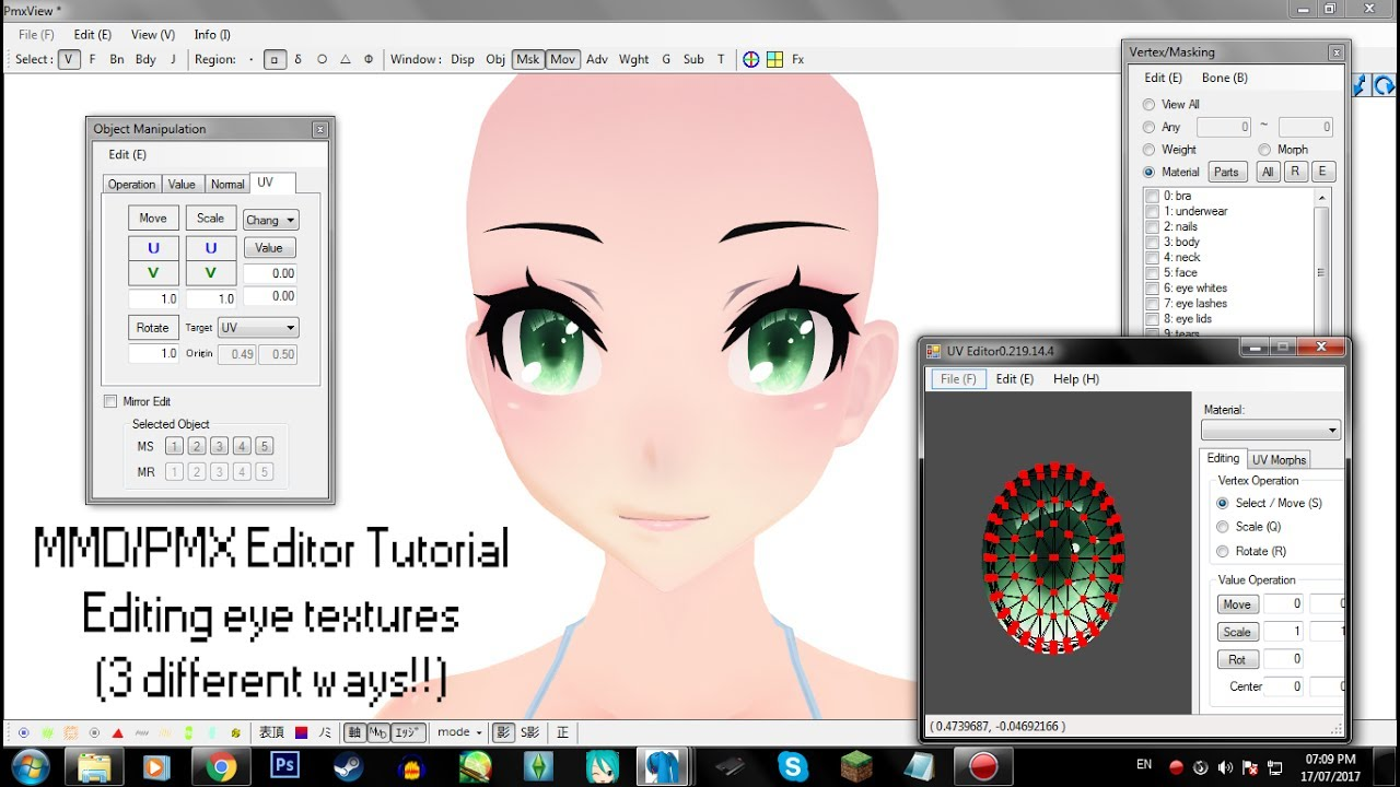 [MMD/PMX Editor Tutorial] Editing TDA eye textures