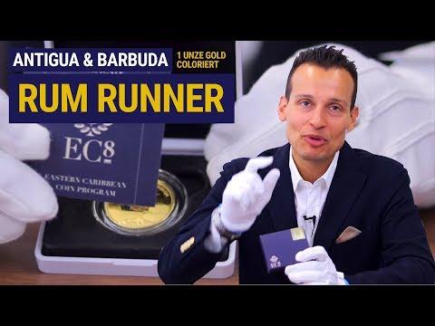 1 UNZE GOLD COLORIERT ⚡ Antigua & Barbuda Rum Runner ⚡ Nur 500 Stück