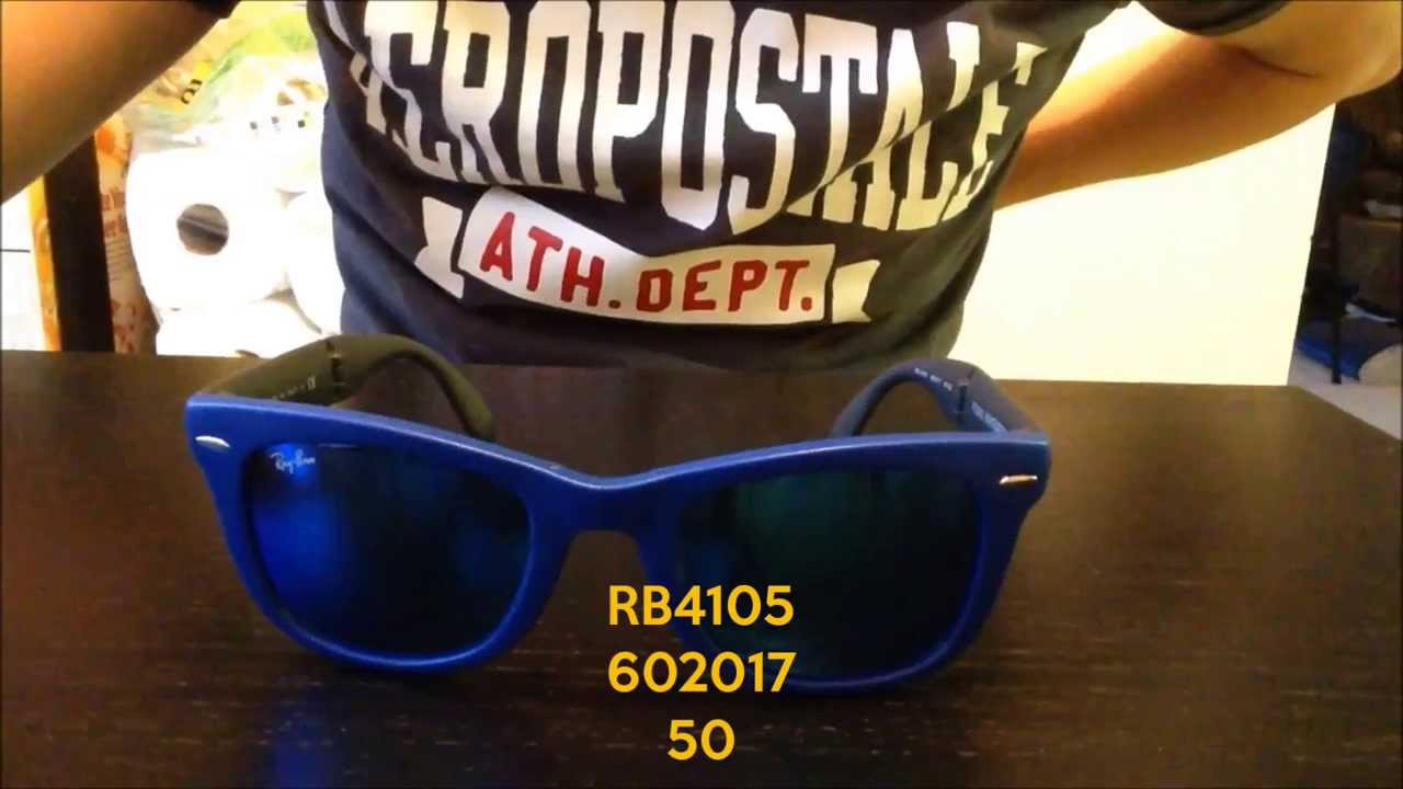 55d1765dc4 Quick Look: Ray-Ban Folding Wayfarer Mirrored Blue RB4105 602017 50mm -  YouTube