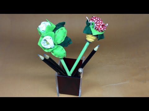 Lápis Com Flor De Tecido Passo A Passo  -  Lápis Com Ponteira - DIY