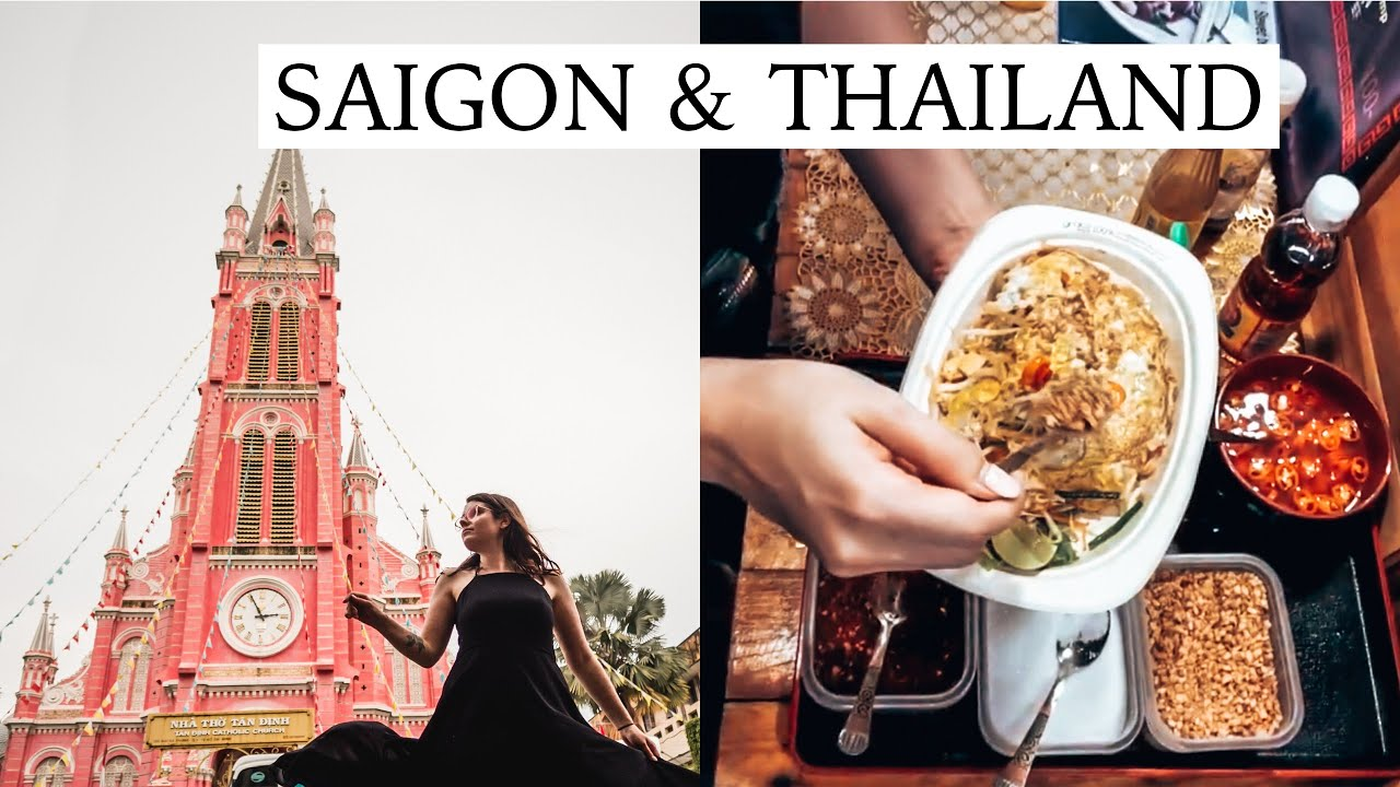 Pink Church in Saigon and Our First Street Food in Thailand | Vietnam and Thailand Travel Vlog