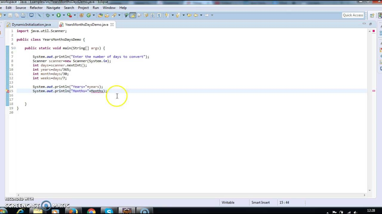 Java program to convert given no. of days into months and days