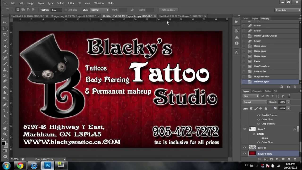 making the new business card for Blacky\'s tattoo studio - YouTube
