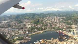 Amazing Approach and Landing at Rio de Janeiro Santos Dumont Airport, cabin view