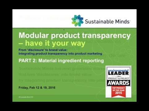 Modular product transparency Part 2: material ingredients