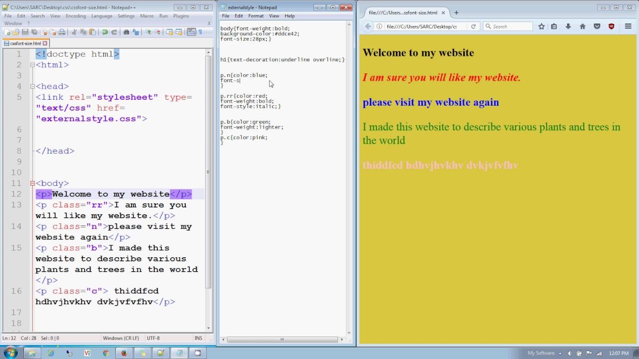 P class background image - Css Class 17 Font Size