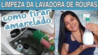 COMO LIMPAR MAQUINA DE LAVAR ROUPAS + MISTURINHA TIRA AMARELADO  por casa limpa