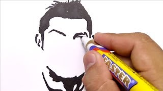 CARA KEREN MENGGAMBAR RONALDO,,, CR7 / how to draw CRISTIANO RONALDO CR7