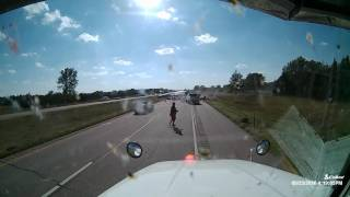 Semi crosses median and hits oncoming traffic (9.23.16 near Gibbon, NE)