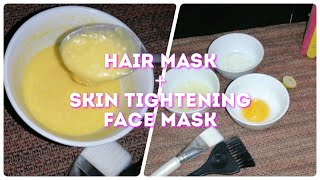 Hair mask for hair fall weak hairs and dunruff face mask for skin tightening wrinkles