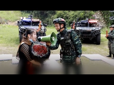 A military style marriage proposal in central China