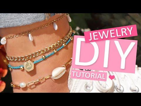 DIY tutorial - Sommerliche Fußketten mit Macramé-Band gestalten