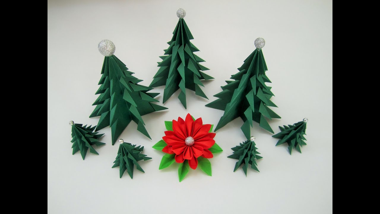 3 christmas trees made of a4 paper quickly and easily 3. Black Bedroom Furniture Sets. Home Design Ideas