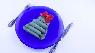 Napkin folding ❄ Christmas decorations Tree of paper napkin DIY