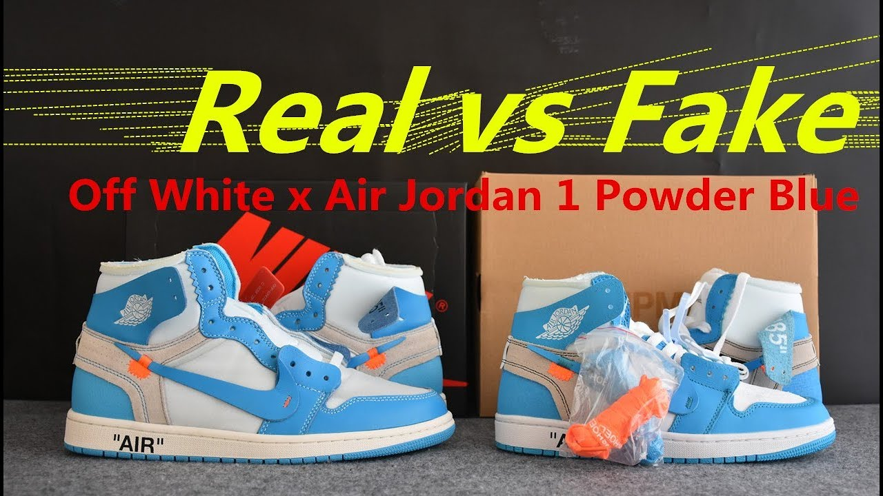 huge discount 1b111 f586a REAL VS FAKE Off White Air Jordan 1 UNC POWDER BLUE