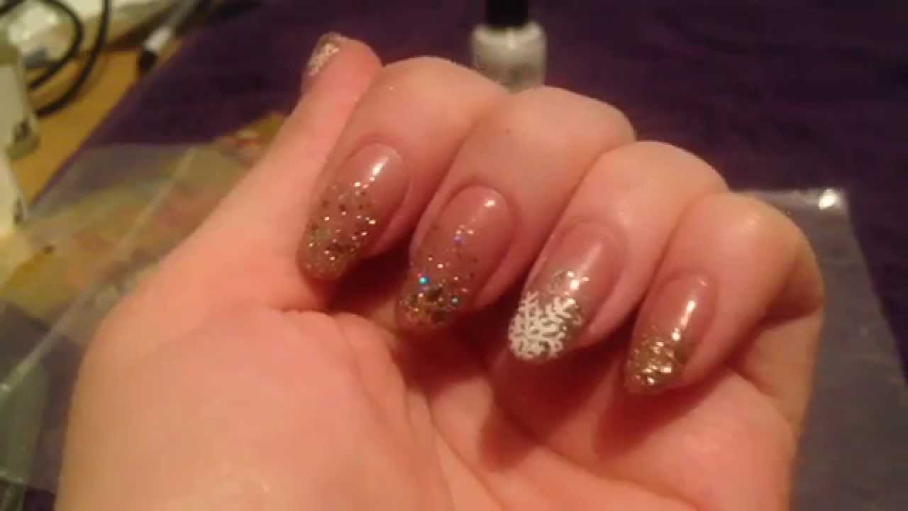 Classy xmas gelish nail art tutorial nude with glitter new youtube prinsesfo Choice Image