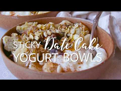 STICKY DATE CAKE YOGURT BOWLS