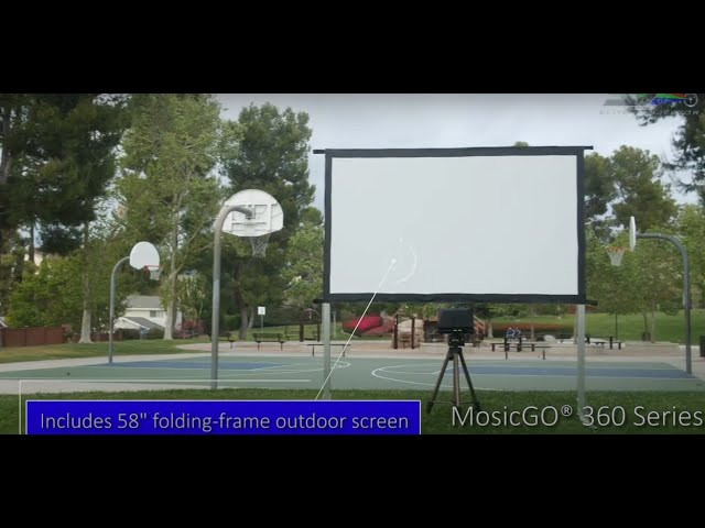 MosicGO® 360 All Season Outdoor Indoor UST Projector/EDGE FREE® Fixed Frame Screens CineWhite UHD-B