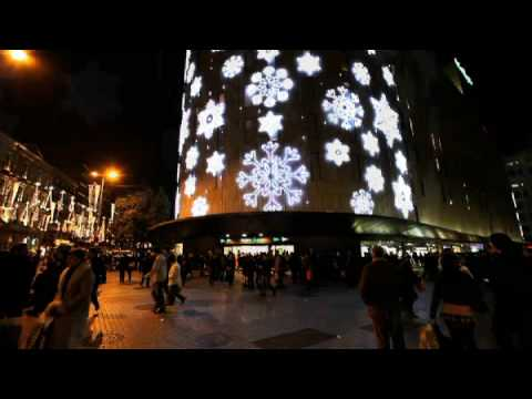 led snowfall in barcelona spain dekra lite commercial christmas decorations - Commercial Christmas Decorations